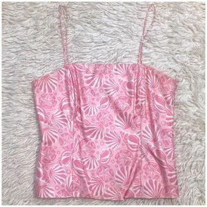 Vineyard Vines 100% silk Tuckernuck pink bustier